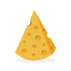 Cheese isolated on white background. Flat design. Vector illustration.