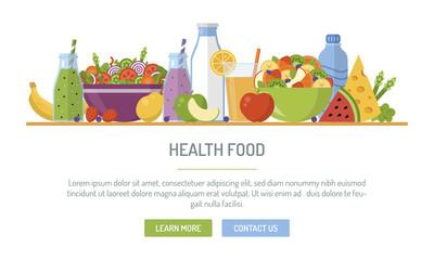 Flat design web banner. Health food. Vector illustration for web design, marketing, graphic design.