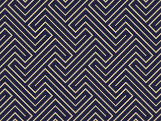 Abstract geometric pattern with stripes, lines. Seamless vector background. Blue and gold ornament. Simple lattice graphic design