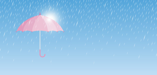 Pink umbrella with rain drop minimal style vector illustration