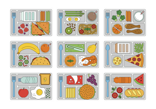Set lunches on a tray. Line style. Healthy food. Element for tour design. Vector illustration.