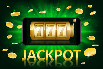 Jackpot shiny gold casino label with money coins. Casino jackpot winner poster gamble with text. Slot machine success concept. Vector illustration