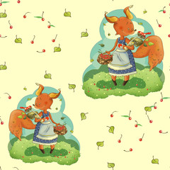 Illustration for children. Protein with a basket of berries, fruits, mushrooms. A funny cartoon character. The squirrel-mistress. On white isolated background.
