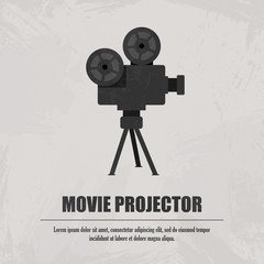 Grey movie projector at light background