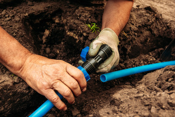 Drainage system connection for garden irrigation