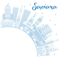 Outline Samara Russia City Skyline with Blue Buildings and Copy Space.