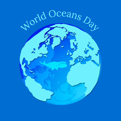 World Oceans Day. Planet Earth in the form of a water balloon in which a whale floats