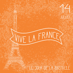 Bastille Day. French National Holiday. The Eiffel Tower in scale. Grunge background. Orange and white