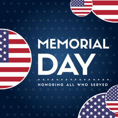 Memorial day poster gretting flag american