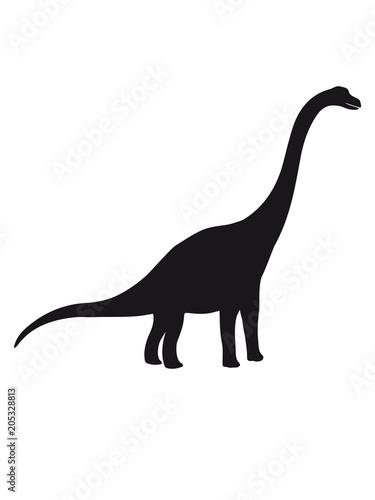 Diplodocus Langhals Groß Riesig Silhouette Schwarz Umriss Dino