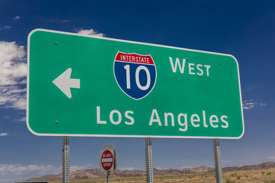 AUGUST 23, 2017 - Interstate 10 highway signs to and from Phoenix and Los Angeles, California