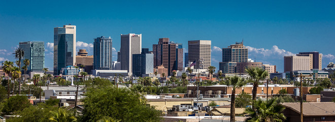 Zelfklevend Fotobehang Arizona AUGUST 23, 2017 - PHOENIX ARIZONA - Panoramic skyline view of Phoenix downtown