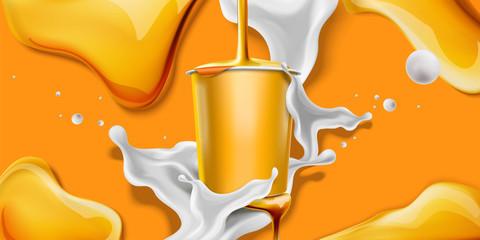 Splashing honey yogurt