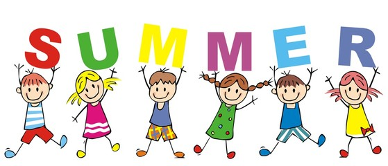 Happy kids and inscription summer, vector icon. Funny illustration, sketch. Children holds letters.