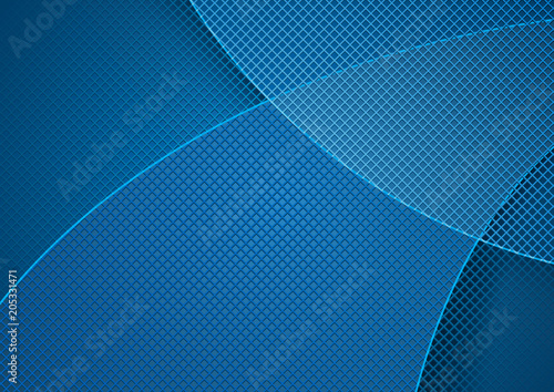 Blue Abstract Background and Grid Pattern with Overlapping