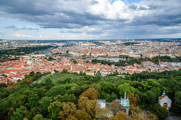 Cityscape of Prague from Petrin Hill