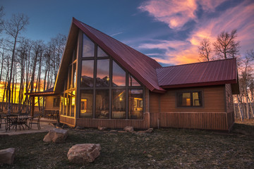Colorado A-Frame modern home at sunset, Hastings Mesa, Ridgway