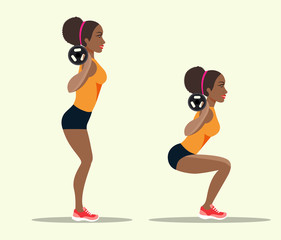 Young afro american sportswoman in sportwear doing squats. Vector flat style isolated illustration