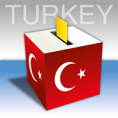 Turkey ballot box vote with flag and symbols