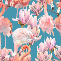 Silhouette tropic exotic animals birds flamingo and magnolia wallpaper. Seamless floral pattern from the composition of trendy pink flamingo and romantic flower hand drawn watercolor art Tropical