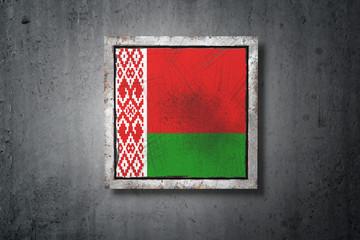 Belarus flag in concrete wall