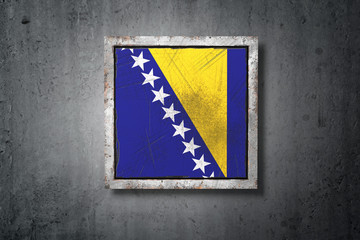 Bosnia and Herzegovina flag in concrete wall