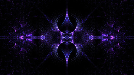 Abstract intricate symmetrical violet ornament. Fantastic fractal design. Psychedelic digital Wall mural