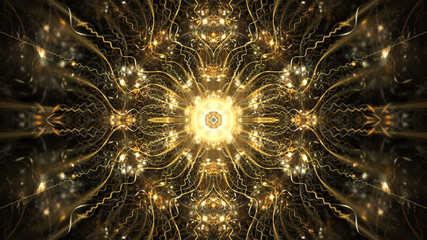 Abstract intricate symmetrical golden ornament. Fantastic fractal mandala. Psychedelic digital Wall mural