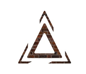 Triangle logo three line break out of the white background illustration 3D.