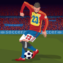 Soccer gameplay. Close up of football player kicking ball on football field, front side view, spectator area on background. Realistic style