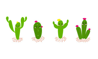 Hand drawn cartoon cactus set with flowers. Cactus collections flat style design vector illustration on white background. Element design, can be used for cards.