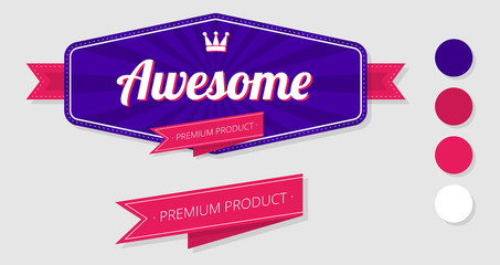 Awesome premium product label isolated on white.