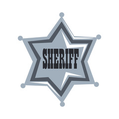 Silver sheriff star badge vector Illustration on a white background
