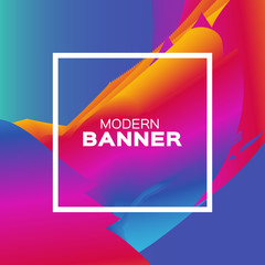 Liquid Poster. Bright Colorful Wave Smoke Shapes with Square frame. Space for text. Abstract Dynamic Effect on purple blue. Modern Template Banner. Vector