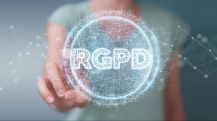 Businesswoman using digital GDPR interface 3D rendering