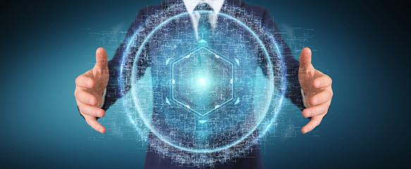 Businessman using digital sphere connection hologram 3D rendering
