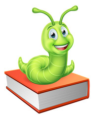 Bookworm Caterpillar Worm on Book
