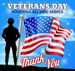 Veterans Day Patriotic Soldier American Flag