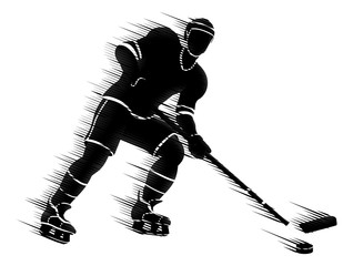 Ice Hockey Player Sports Silhouette Concept