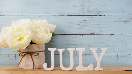 july alphabet letter with space background