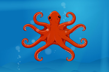 Red octopus in blue water. Hand drawn sketch