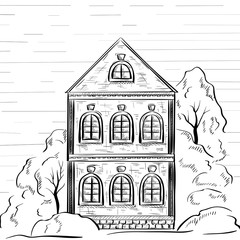 Old two-storey house with trees. Hand drawn sketch