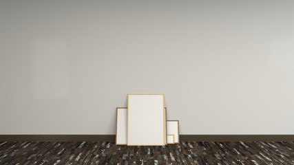 Blank white poster in wooden frames standing on the floor