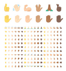 All type of hand emojis, stickers in all skin colors, emoticons flat vector illustration symbols set, collection. Hands, handshakes, muscle, finger, fist, direction, like, unlike, fingers.