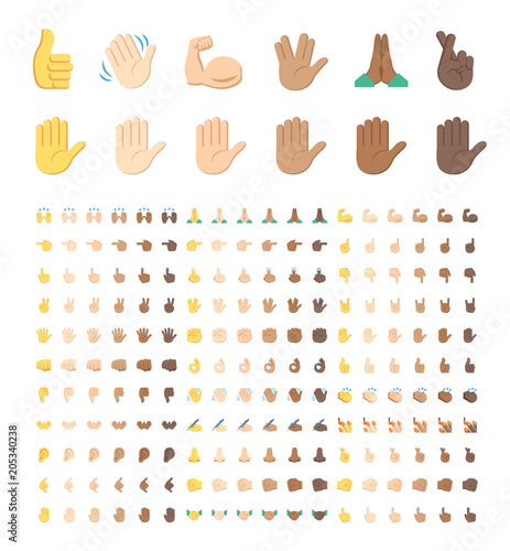 All Type Of Hand Emojis Stickers In All Skin Colors Emoticons Flat