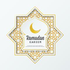 Ramadan Kareem islamic greeting design  mosque dome with arabic pattern and calligraphy