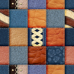 seamless leather and jeans patchwork background