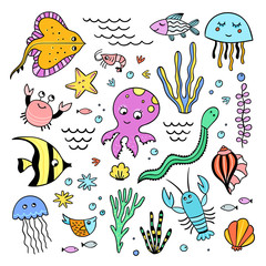 Underwater sea creatures illustrations. Funny fishes and sea animals hand drawn set