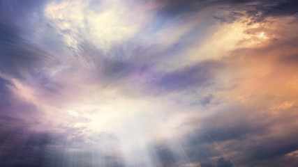 Abstract big explosion .  Light from sky . Religion background . beautiful cloud . background sky at sunset and dawn