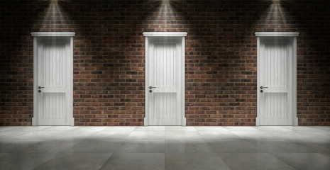 Brick wall with three closed doors. 3d rendering